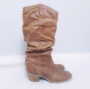 31646bf4f6 Brown Leather Slouchy Cowgirl Boots Size 8